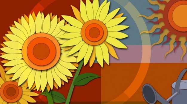 paper sunflower abstract psd background