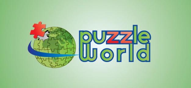 puzzle world globe vector logo