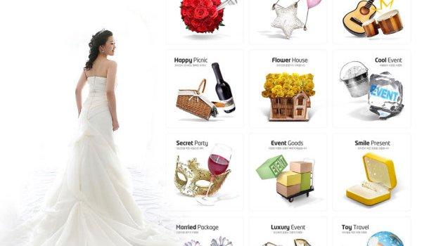 Realistic honeymoon icons