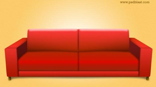 red sofa psd  interior icon