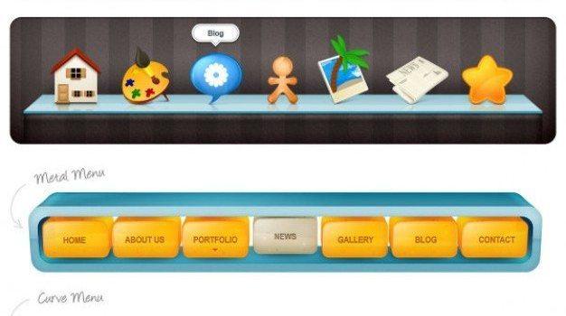 several navigation bar psd layered material