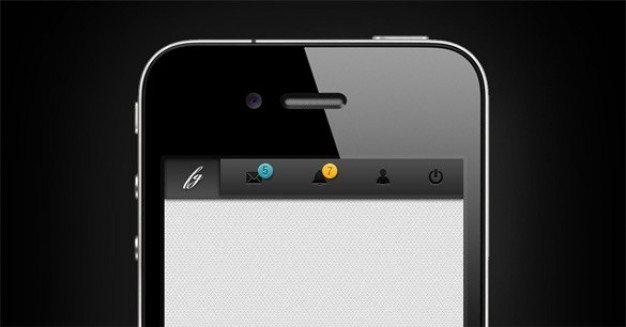 slick mobile app navigation bar psd