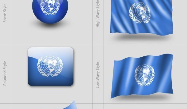 Various styles of flag templates PSD
