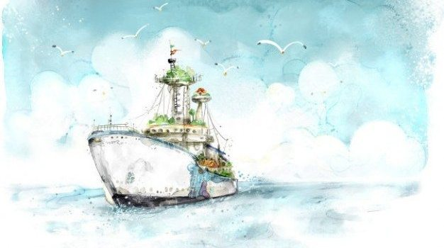 watercolor style cruise psd material