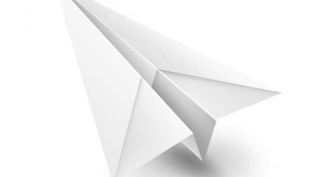White paper airplane PSD icon