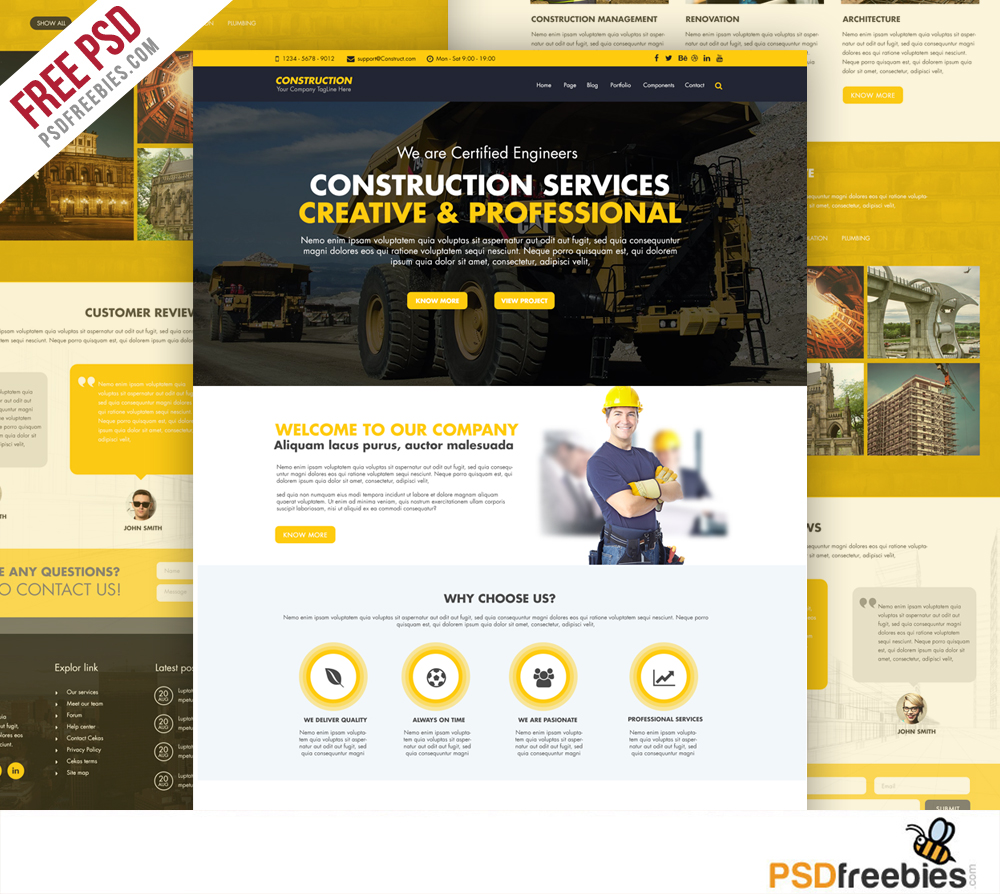 You can find her expertise in sales and real estate content on fit small busine. Construction Company Website Template Free Psd Psdfreebies Com