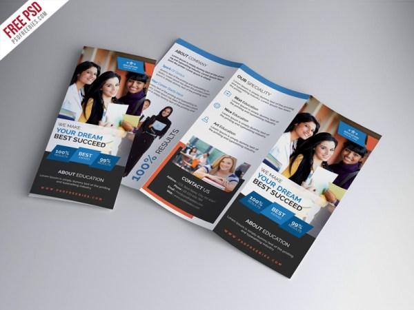 University Education Trifold Brochure PSD Template