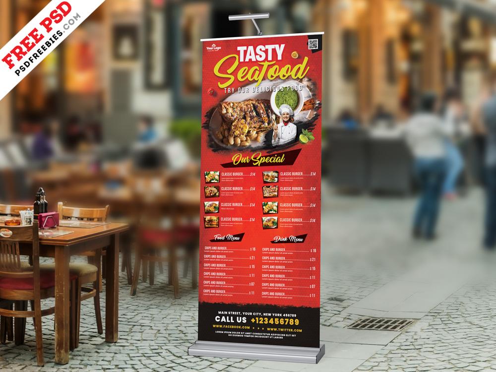 Outdoor Restaurant Food Menu Roll Up Banner Psd