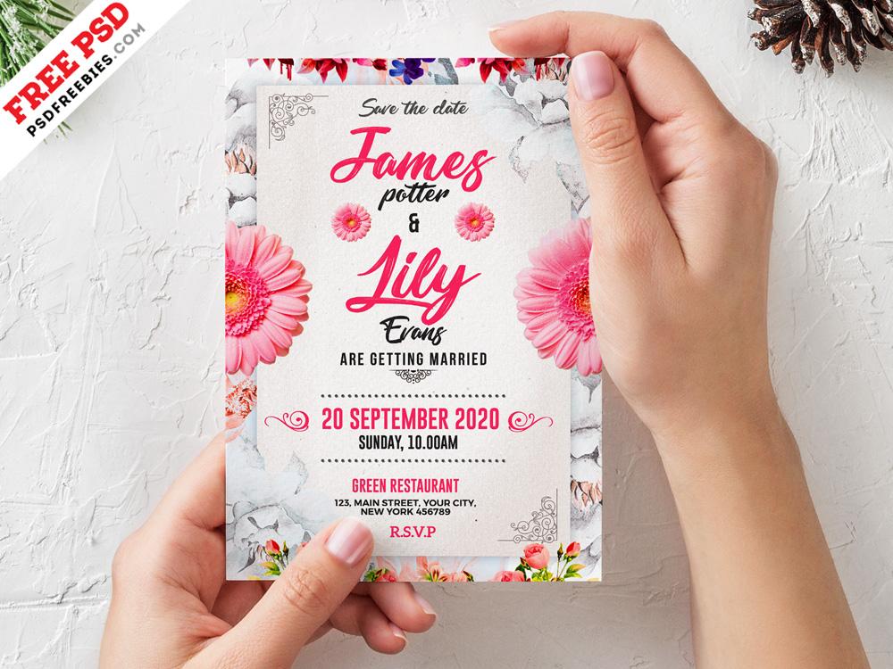 wedding invitation card template psd