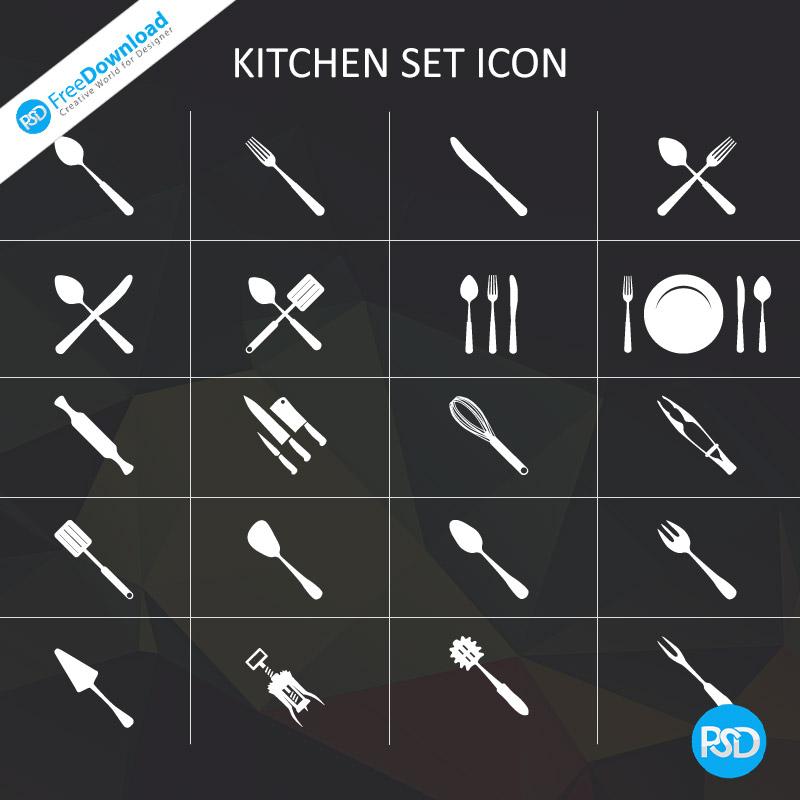 Kitchen Set Icons PSD Free
