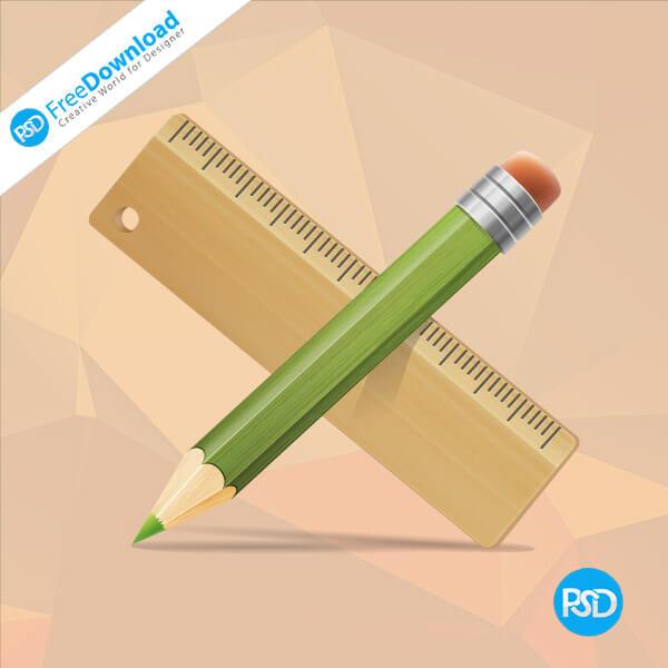 PSD drawing pencil ruler set