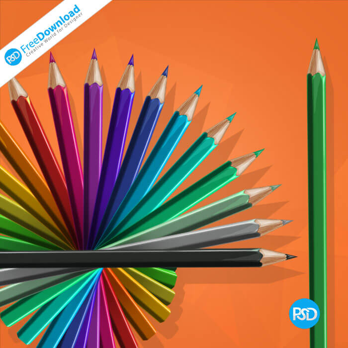 Free PSD Pencils Graphic Design