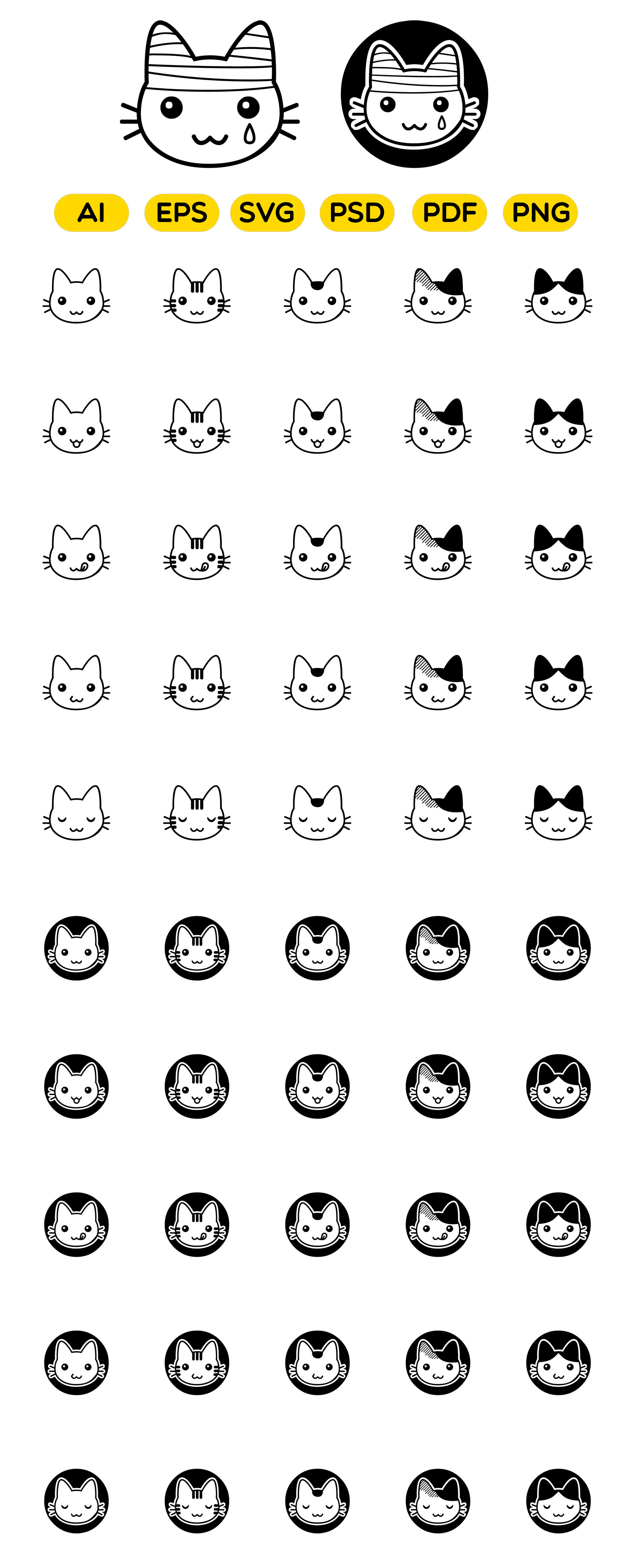 52 Cute Cat Face Vector Icons