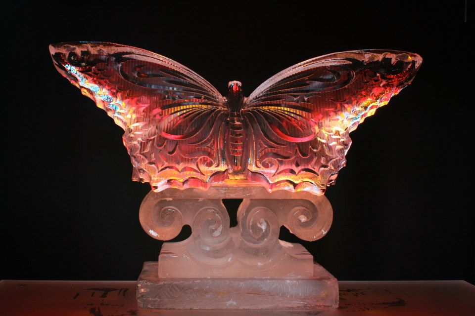 small butterfly ice sculpture table centre