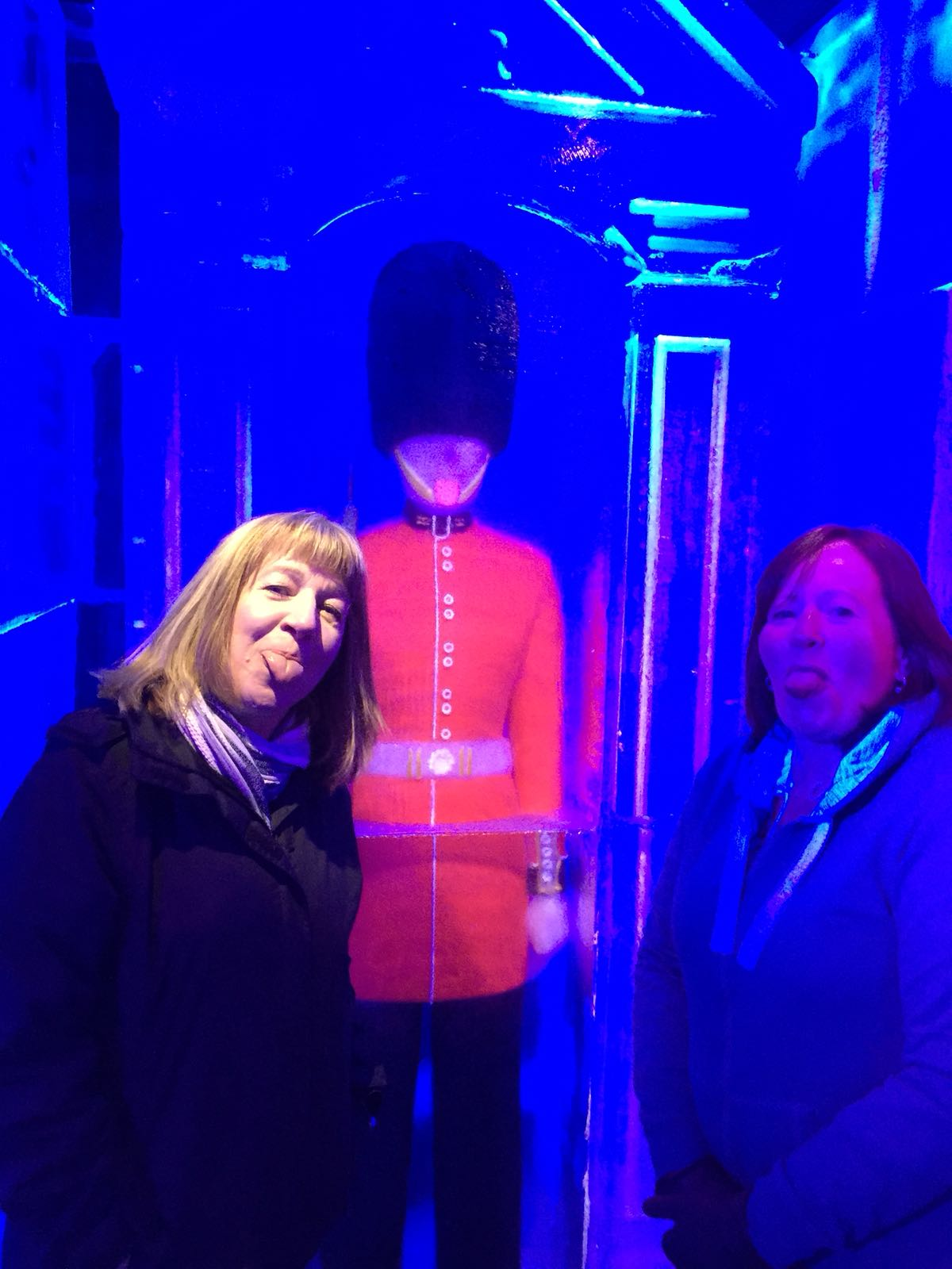 Nicky and Gillian tongues out! at the Belowzero Ice Bar London