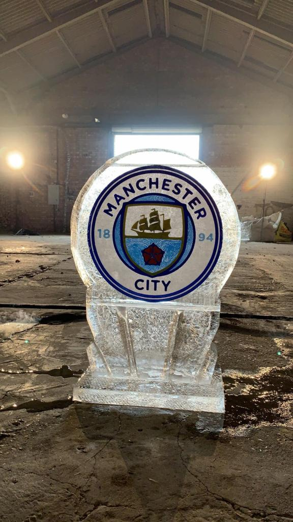 PSD Ice Art Ice Sculpture Manchester City Logo (2) On Set Filiming