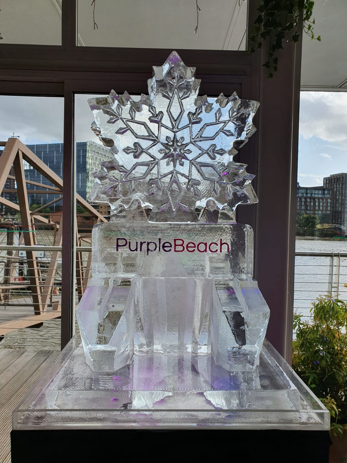 PurpleBeach Snowflake Luge Logo Christmas Ice Sculpture