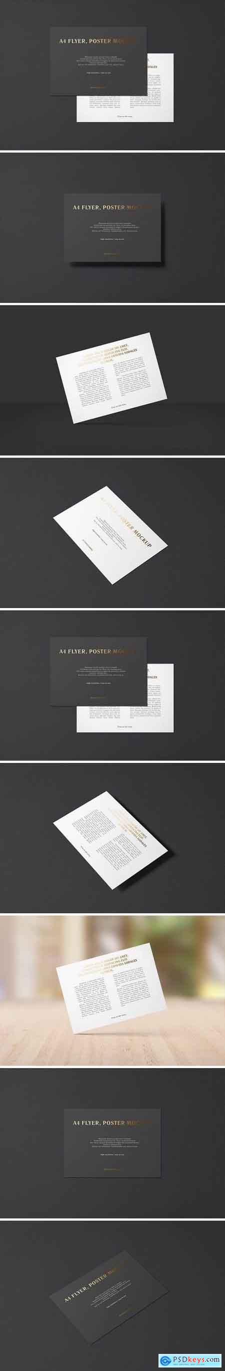 A4 / a5 landscape flyer mockup. A4 Landscape Flyer Mockup Foil Stamping Edition Free Download Photoshop Vector Stock Image Via Torrent Zippyshare From Psdkeys Com