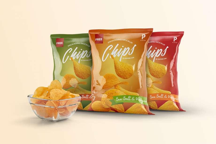 Download Free Chips Bag Packaging Mockup - PSDKits