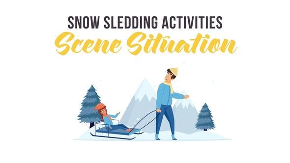 Videohive Snow sledding activities - Scene Situation 29247011