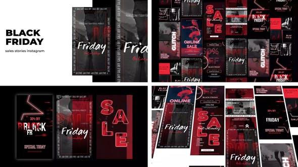 Videohive Glitch Black Friday Stories Instagram 29610431