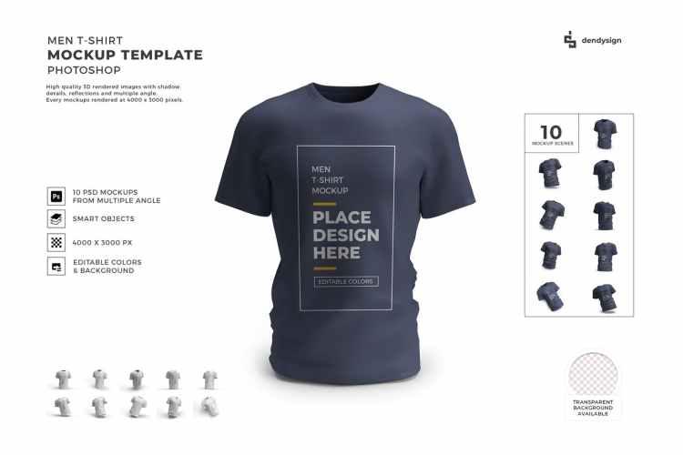 Men Tshirt Mockup Template Set YUWBME4
