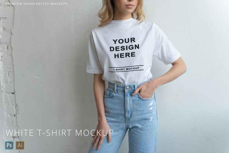White T-Shirt on Person Mockup White Background JKNC3BM