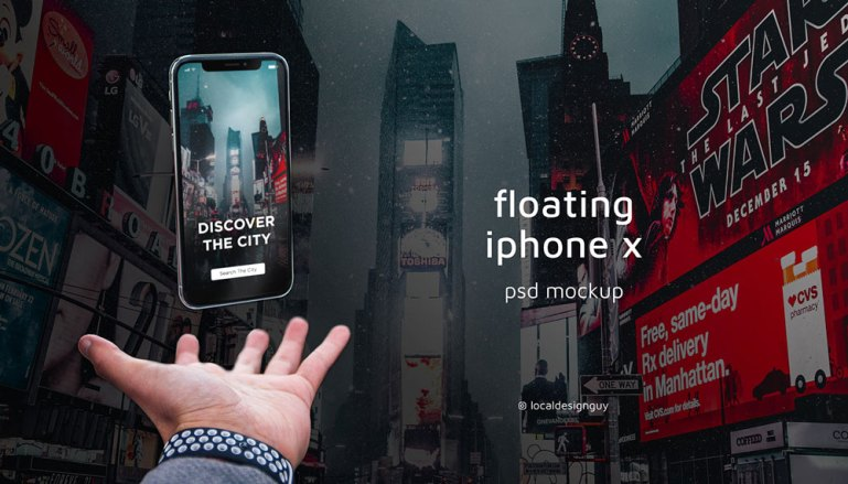 Floating iPhone X PSD Mockup Free