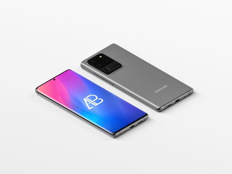 Isometric Samsung Galaxy S20 Ultra Mockup
