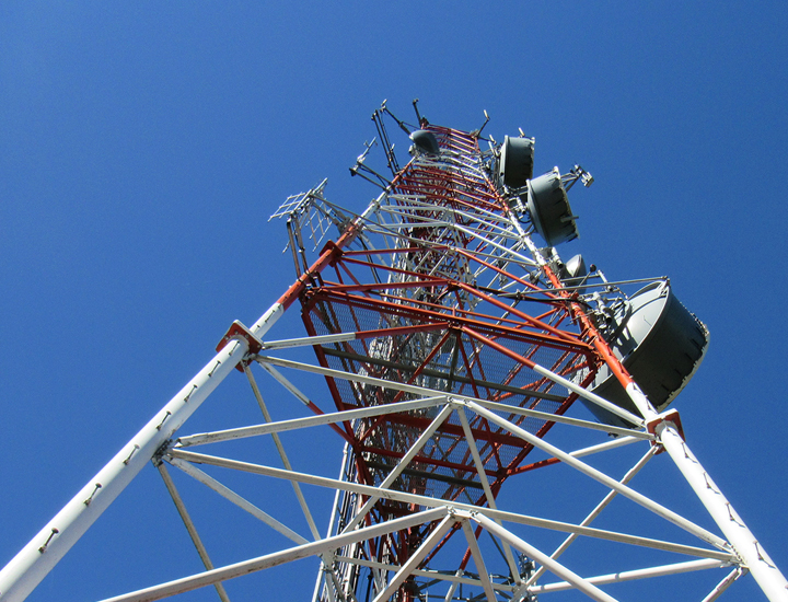 radio tower against blue sky