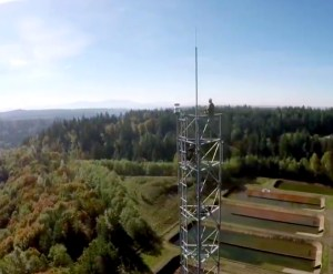 Worker atop radio tower in King County