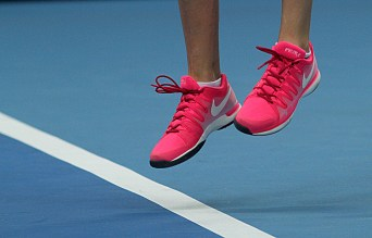 After two or three matches the photos get really redundant, so I tried to look for different things — like Petra Kvitova's personalized sneaks.