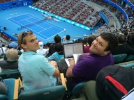 Andrew Kauffman (left) and Daniel Shapiro seated in the media section for Diamond Court.