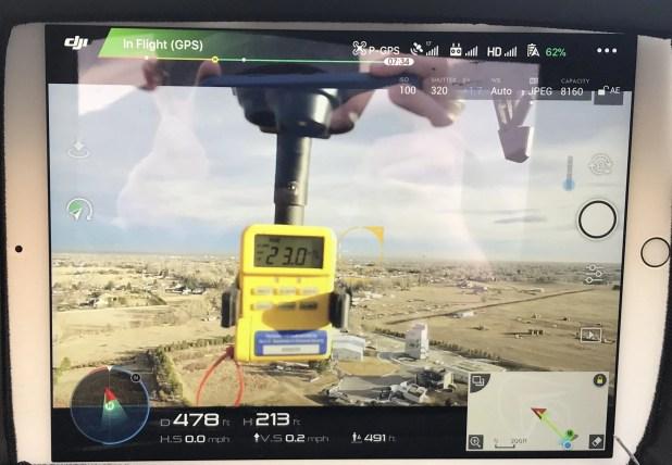 DJI Inspire flying radiation meter.