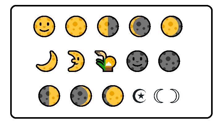 Fases da Lua em Emoji