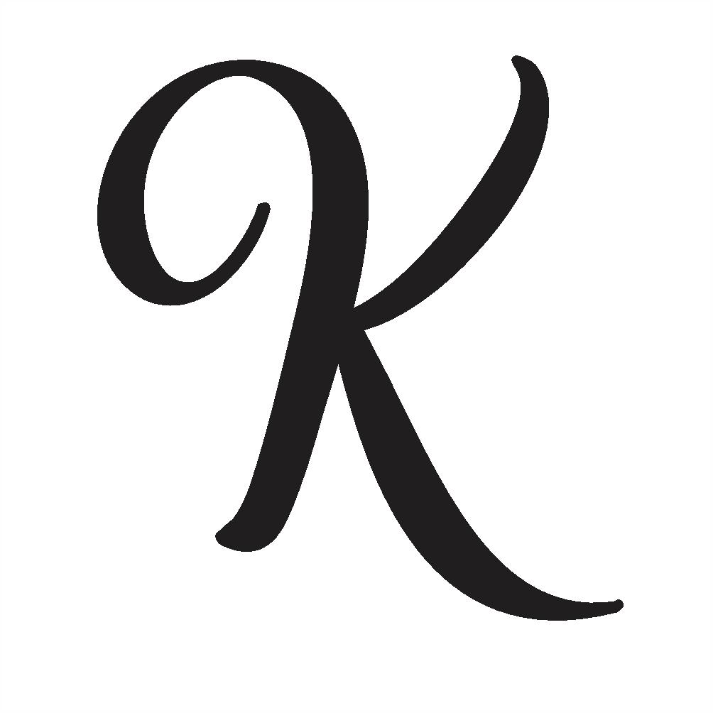 Uppercase k in cursive