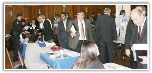 business professionals at a hiring event