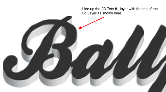 Move the 2D layer into position over the 3D layer