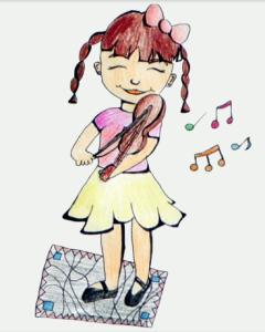 Pasaka_Mergaitė ir smuikas_iliustravo Laura Stunžėnaitė