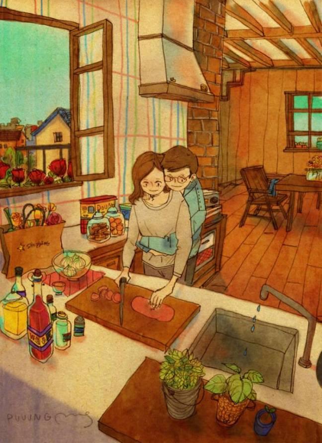 prova de amor marido abraça a mulher enquanto ela cozinha