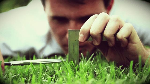 perfeccionismo, homem cortando grama