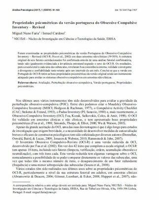 Propriedades psicométricas da versão portuguesa do Obsessive-Compulsive Inventory - Ismael Cardoso