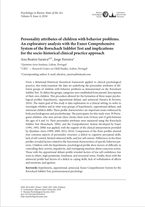 Personality attributes of children with behavior problems Dr. Jorge Ferreira