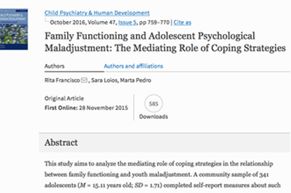 Family Functioning and Adolescent Psychological Maladjustment - Dra. Sara Loios