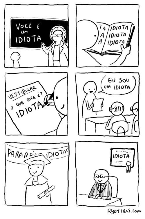 Desenho homem idiota.