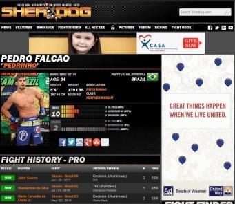 Perfil do Atleta no site.