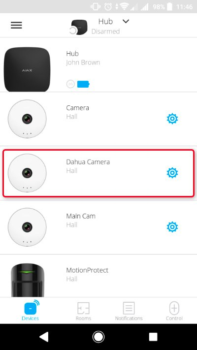connect a Dahua video recorder or camera to Ajax security