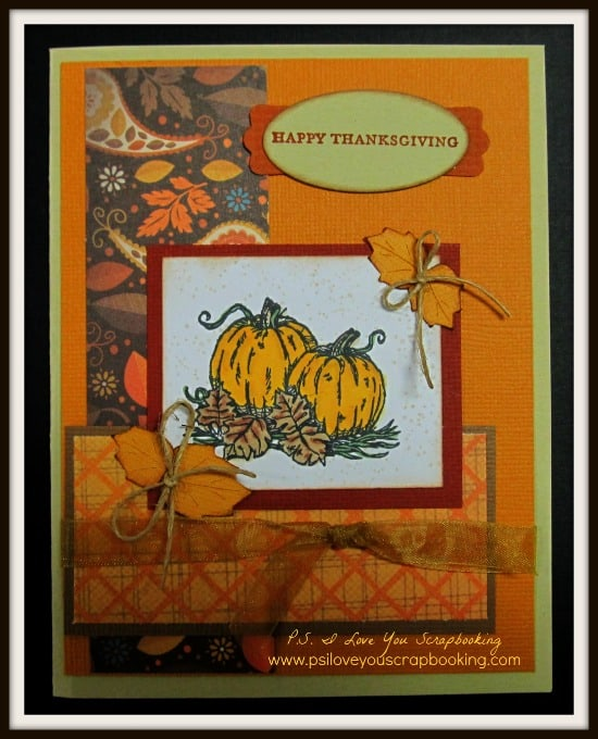 Thanksgiving Pumpkin Card with Cricut Leaves as Accents. Cricut Leaves were cut using the Stretch Your Imagination Cricut Cartridge. Here are 20 Fall Paper Crafts to enjoy with your friends and family. Fall Home Decor, Fall and Thanksgiving Handmade Cards, Fall Printables, Kids' Crafts leaves, pumpkins, feathers, and so much more!