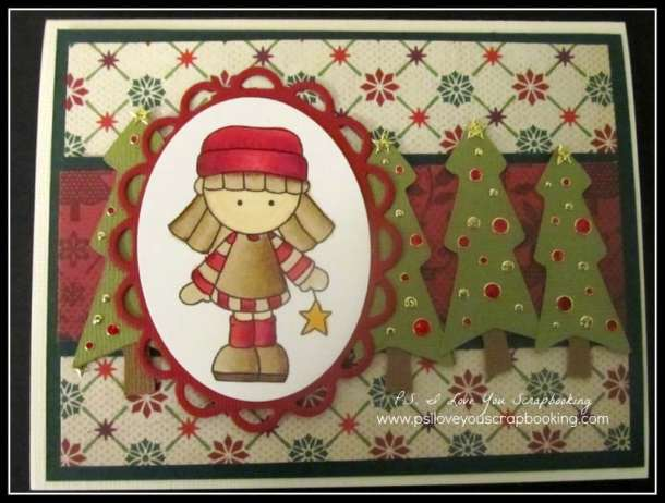 Handmade Christmas Card Using Digi Garden and Cricut Christmas Trees from Doodlecharms Cricut Cartridge