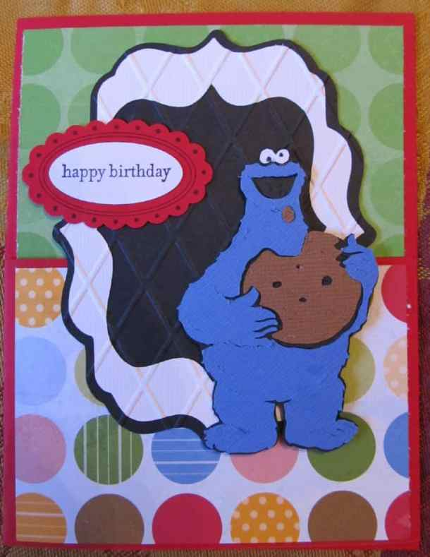 Cookie Monster Card - The Sesame Street Friends Cricut Cartridge has Big Bird, Elmo, Cookie Monster, Oscar the Grouch, and all of the lovable Sesame Street Characters. This cartridge is great for preschool and kindergarten aged birthday cards, favors, decorations and scrapbook pages.